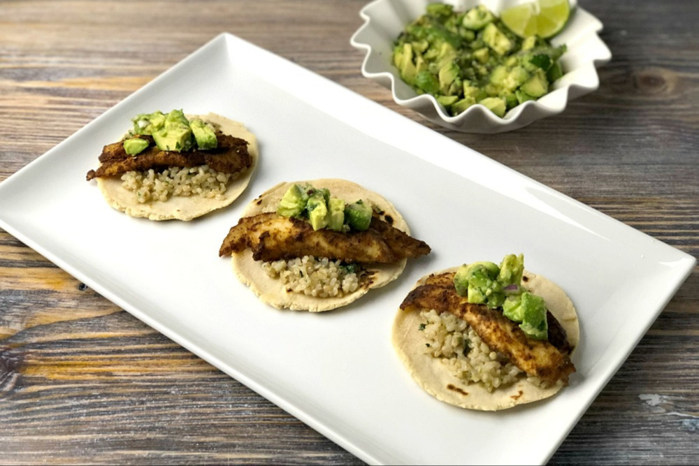 Gluten free fish tacos with cilantro lime rice and cassava for What fish is good for you